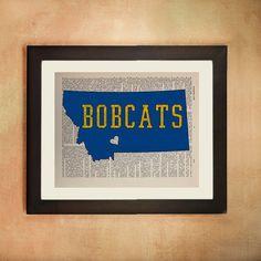 Montana State Bobcats Dictionary Art Print Bozeman Mt University ...