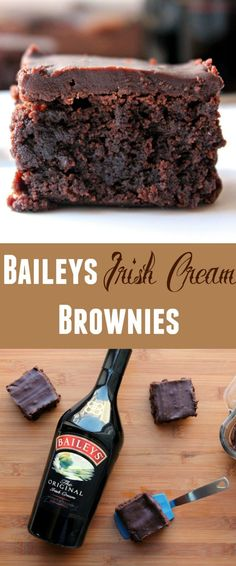 BAILEYS Irish Cream Brownies - Ive made these decadent fudgy brownies as easy as can be. Just replace the water in your favorite box of fudge brownie mix. Then the best part is the easy Baileys infused ganache topping! Dont even bother waiting u Fudge Brownies, Brownies Caramel, Bailey Brownies, Brownie Bar, Köstliche Desserts, Dessert Recipes, Irish Desserts, Appetizer Recipes, Appetizers