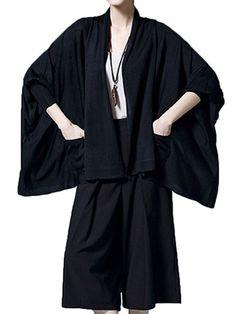 Casual Loose Batwing Sleeve Pure Color Irregular Hem Pocket Cardigan For Women