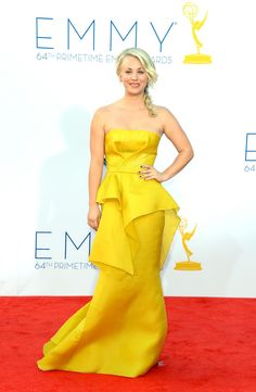 Kaley Cuoco arrives at the 64th Annual Primetime Emmy Awards at Nokia Theatre L.A. Live