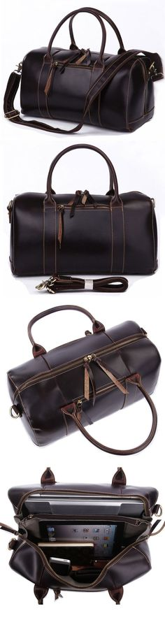 Handmade Antique Genuine Crazy Horse Leather Travel Bag Tote Messenger Bag Duffle Luggage Baggage
