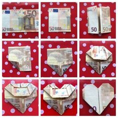 Simple Thoughts-money-folding-heart Source by marwazharan Diy Wedding Presents, Diy Presents, Diy Gifts, Money Origami, Origami Easy, Diy And Crafts, Paper Crafts, Gift Wraping, Original Gifts