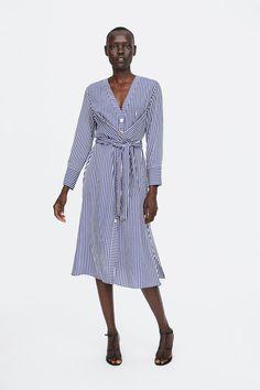 Belted Dress, Striped Dress, Zara Dresses, Fashion Dresses, Classy And Fabulous, Zara Women, What To Wear, Wrap Dress, Womens Fashion