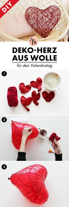 DIY your Christmas gifts this year with GLAMULET. Mal eben schnell ein Deko-Herz aus Wolle selbermachen - DIY-Anleitung via Makerist. Just make a deco heart out of wool yourself - DIY instructions via Makerist. Valentines Bricolage, Valentine Crafts, Valentine Decorations, Holiday Crafts, Fun Crafts, Diy And Crafts, Crafts For Kids, Recycled Crafts, Creative Crafts