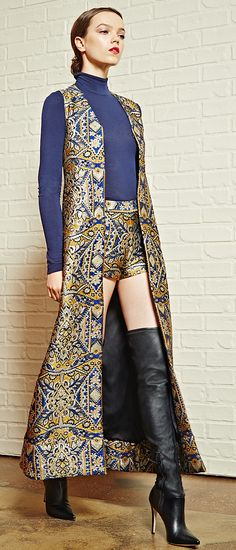 #AliceOlivia bring gorgeous archetypes of the past into the very modern closets of the here and now this fall. Rococo-inspired embroidery highlights this elongated vest and structured shorts, crafted with a hint of silk for a lustrous finish. Click to see see how designers bring out the richness of fall fashion in our COLLECTION editorial event.