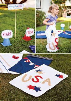 4th of July Game Idea: DIY Patriotic Gunny Sack Race