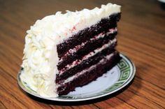 moist Red Velvet Cake with Rosette Cream Cheese Frosting |