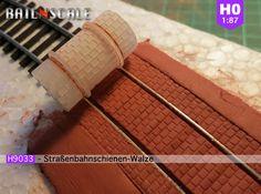Straßenbahnschienen-Walze (Reihenverband - H0 1:87 3d printed
