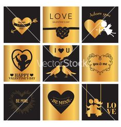 Set of love cards for valentines day vector by woodhouse84 on VectorStock®