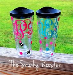 Monogrammed 24 oz Tumbler with Sip Lid by TheSpunkyRooster on Etsy, $16.50