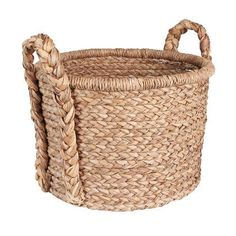Large Wicker Floor Basket with Braided Handle
