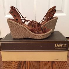Born sandals Born leather studded sandals with woven wedge. ties around ankle. size 6 Born Shoes Sandals