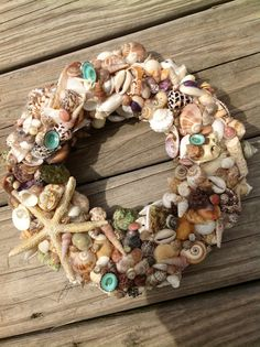 Exotic Tropical Wreath Starfish Decor, Seashell Coastal Wreath with Various Shells on Etsy, $35.00