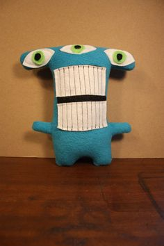 MINI MONSTER Conrad in Blue with Green Eyes on Etsy, $20.00