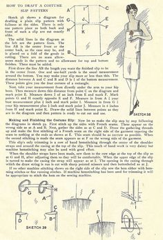1920's costume slip | Instructions for drafting the pattern and making a costume slip, 1929