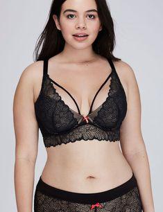 769e24e3f4 Fashion Bug Women s Open Lace Longline Plunge Bra 44H Black Plus Size Bra