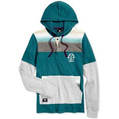 Lrg Men's Open Range Colorblocked Thermal Hooded Sweatshirt ($15) ❤ liked on Polyvore featuring men's fashion, men's clothing, men's hoodies, dark teal, mens sweatshirt hoodies, mens short sleeve hoodies, men's color block hoodie, mens hooded sweatshirts and mens hoodie