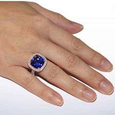 Items similar to White Gold Large Spectacular Cushion Cut Royal Blue Tanzanite Engagement Wedding Right Hand Cocktail Ring on Etsy Tiffany Wedding Rings, Black Wedding Rings, Wedding Rings Simple, Celtic Wedding Rings, Wedding Rings Vintage, Black Rings, Purple Engagement Rings, Tanzanite Engagement Ring, Tanzanite Ring