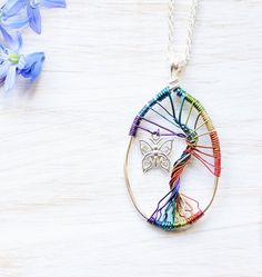 Rainbow tree necklace Angel baby gift Whimsical by NobiasArt