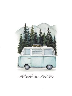 "VW Bus ""Adventure awaits"" Road trip to the mountains, original art print - VW B . - VW Bus ""Adventure awaits"" Road trip in the mountains, original art print – VW Bus ""Adventure awai - Adventure Awaits, Adventure Travel, Adventure Quotes, Photos Amsterdam, Painting & Drawing, Watercolor Paintings, Bus Drawing, Tattoo Watercolor, Watercolor Techniques"