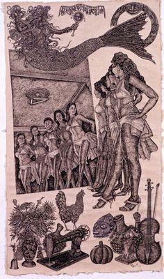 Manny Vega, 'Oshe Meji', 2011  Ink on paper 243.8 × 213.4 cm  Image provided by El Museo Del Barrio