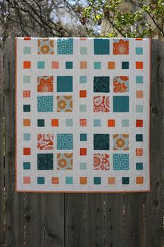 Great choice of colors and fabrics! Square Dance quilt pattern