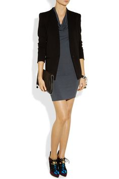 Cowlneck dress with a ruched sleeve blazer and colorful lace up booties