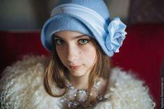 """шляпка валяная """"Нежная"""" - голубой,однотонный,валяная шляпка,шляпка валяная"""