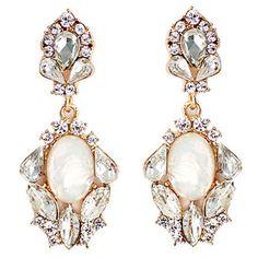 10,90EUR Ohrringe mit Tropfen Strass golden weiss bridal earrings