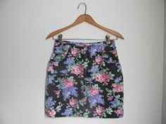 Vintage floral denim mini skirt high waisted by MyPolyesterCloset, $20.00