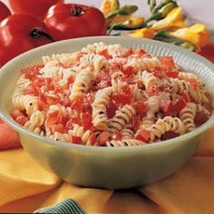"Tomato Spiral Toss Recipe -""When my husband and I don't have a lot of time, we fix this pleasing pasta dish,"" remarks Nicole Lynch of Powell River, British Columbia. It's easy to prepare...and easy on the pocketbook at 42 cents a serving. The price comes down even more if you use homegrown tomatoes from your garden."