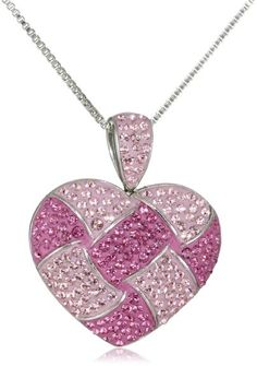 """Women's #Fashion #Jewelry: Carnevale Sterling Silver and #Pink Quilted #Heart Pendant Necklace with #Swarovski Crystal Elements, 18"""": #Pendants and #Necklaces"""