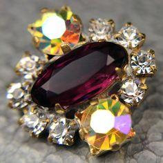 Exceptional Czech Rhinestone Jewel Glass Button Amethyst Purple AB Crystal | eBay