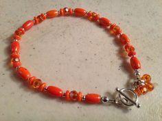 Orange Bracelet  Sterling Silver Jewelry  Beaded by cdjali on Etsy