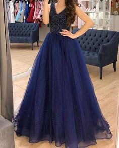 Elegant Navy Tulle Beaded Long Prom Dresses, A Line Prom Dress, Custom – shinydress A Line Prom Dresses, Prom Dresses Online, Evening Dresses, Formal Dresses, Party Dresses, Beaded Prom Dress, Make Color, Wedding Veil, Dress For You