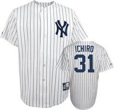 Ichiro Suzuki Majestic New York Yankees Cooperstown White/Navy Replica Jersey $99.99 http://www.fansedge.com/Ichiro-Suzuki-Majestic-New-York-Y-ankees-Cooperstown-WhiteNavy-Replica-Jersey-_-1729120599_PD.html?social=pinterest_pfid66-60172