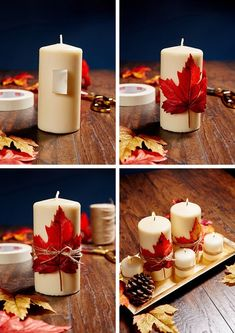 timeless design 62dd4 67403 DIY Candles and Maple Leaves Centerpiece. Create a stunning centerpiece  with candles and maple leaves