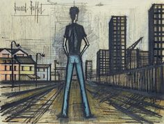 Bernard BUFFET (1928-1999) Sur le quai Encre de chine, aquarelle et pastel Signée en haut à gauche 47,5 X 63,5 cm Certificat de Maurice Gargnier du 12 décembre 1990. - Kahn-Dumousset - 29/05/2015
