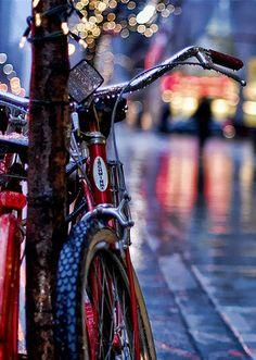 red bike + lights