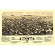 Old Map of Greeley Colorado 1882 Weld County Canvas Art - x