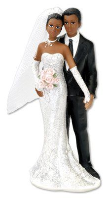 black bride groom wedding cake topper holding hands httpwww