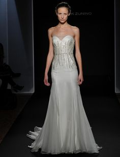 Mark Zunino Fall 2016 off-white silk organza over crepe wedding dress with jeweled waistband