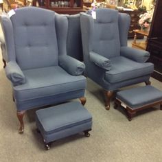 Wing Back Chairs - we have a pair of these blue pawing back chairs. Each chair includes the footstool. Item 1450-1. Price $280.00 each   - http://takeitorleaveit.co/2017/01/23/wing-back-chairs-2/