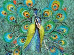 Felt Wool Tote PeacockOne of kind Felted handbag by MSbluesky