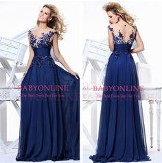 $69.99--In Stock 2014 Elegant Royal Blue A-line Scoop Empire Floor-length Evening Dress Slim Chiffon Long Prom Dresses
