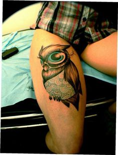 Owl Tattoo. Love the turquoise.