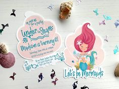 Lets be Mermaids! The unique mermaid shell shape adds that extra special touch to your next party. This fun cutout invitation will set the perfect tone for your party. A great party starts with an AMAZING Invitation! ------------------------ COVID-19 update ------------------------ Order now and Mermaid Party Invitations, Birthday Invitations, Mermaid Shell, Little Bow, Mermaid Birthday, Envelope Liners, For Your Party, 10th Birthday, Free Paper
