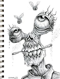 Doodle by Emek drawings trippy Weird Drawings, Trippy Drawings, Dark Art Drawings, Pencil Art Drawings, Art Drawings Sketches, Doodle Drawings, Creepy Art, Weird Art, Arte Horror