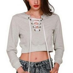 Sexy lace up sweatshirt for women plain gray deep V neck crop top Lace Sweatshirt, Short Tops, Hoodies, Sweatshirts, Your Style, Cotton Fabric, Sexy Women, Lace Up, Cropped Tops