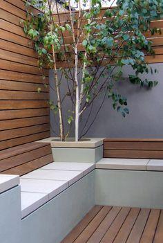 Contemporary garden seating and planting. contemporary garden seating and planting small Small Garden Design, Patio Design, Courtyard Design, Urban Garden Design, Contemporary Landscape, Landscape Design, Contemporary Fencing, Contemporary Planters, Contemporary Gardens